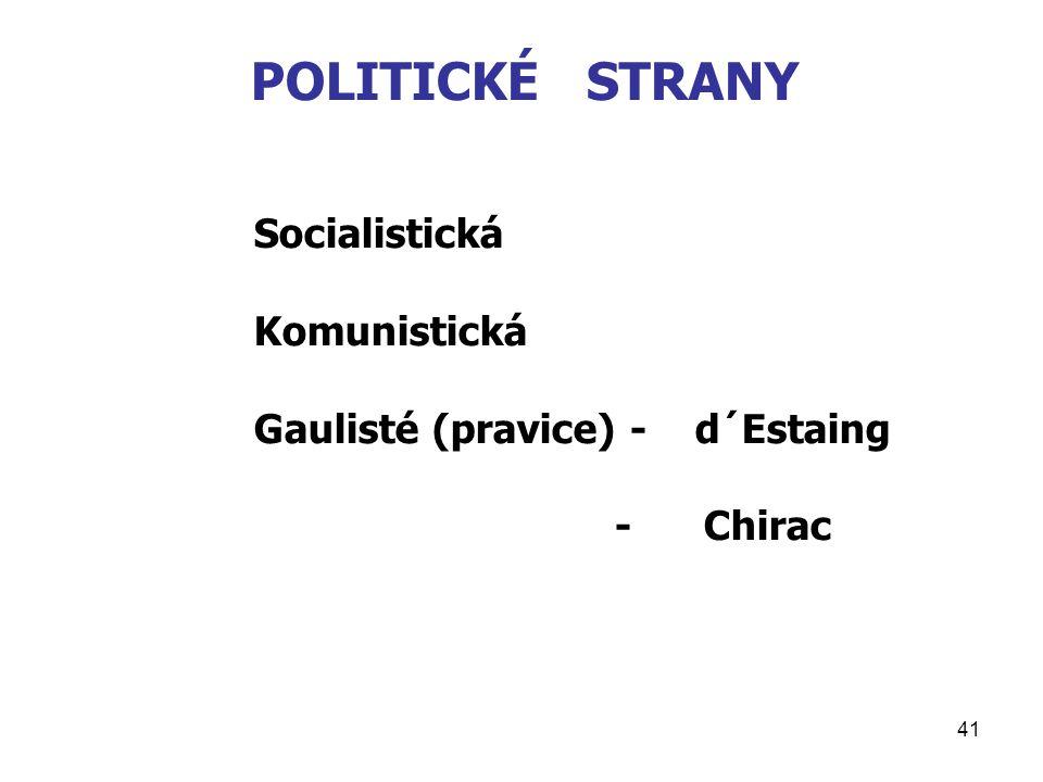 41 POLITICKÉ STRANY Socialistická Komunistická Gaulisté (pravice) - d´Estaing - Chirac