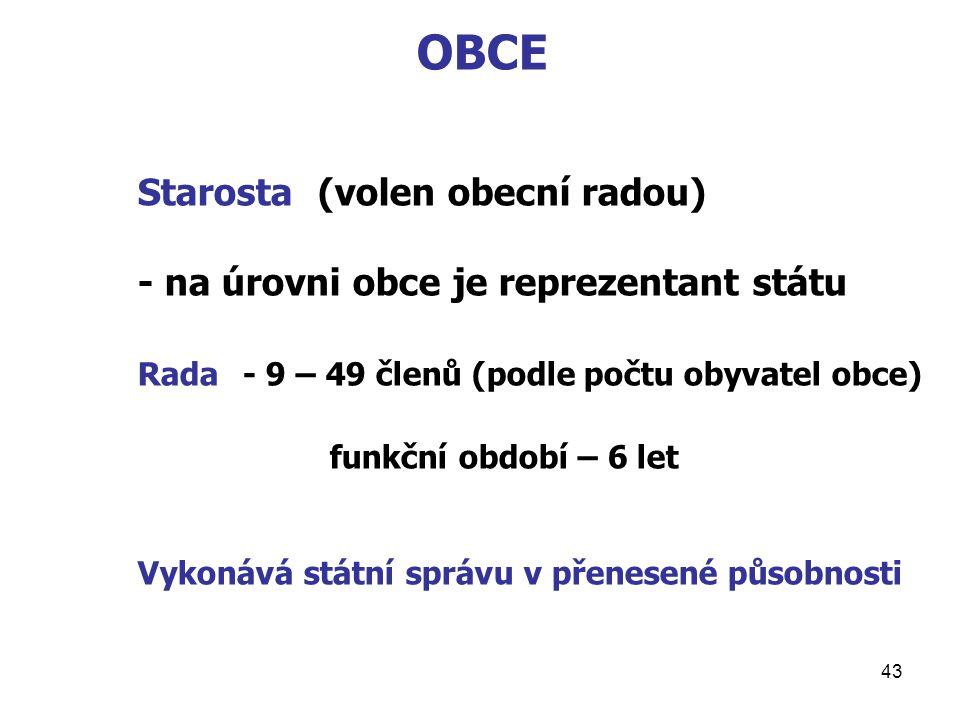 43 OBCE Starosta (volen obecní radou) - na úrovni obce je reprezentant státu Rada - 9 – 49 členů (podle počtu obyvatel obce) funkční období – 6 let Vykonává státní správu v přenesené působnosti