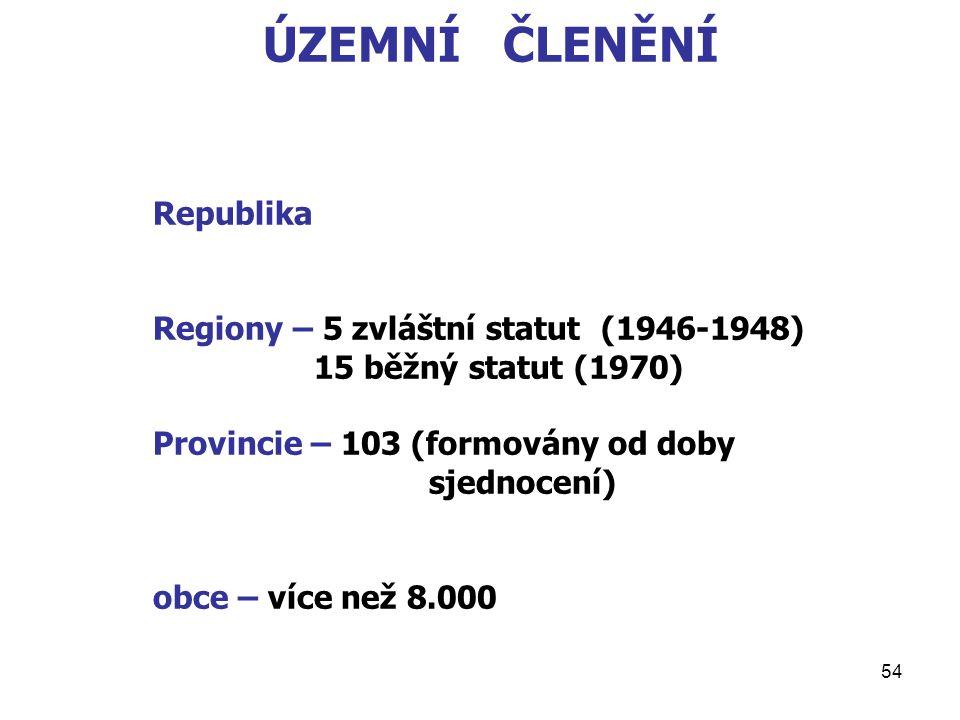 54 ÚZEMNÍ ČLENĚNÍ Republika Regiony – 5 zvláštní statut (1946-1948) 15 běžný statut (1970) Provincie – 103 (formovány od doby sjednocení) obce – více než 8.000