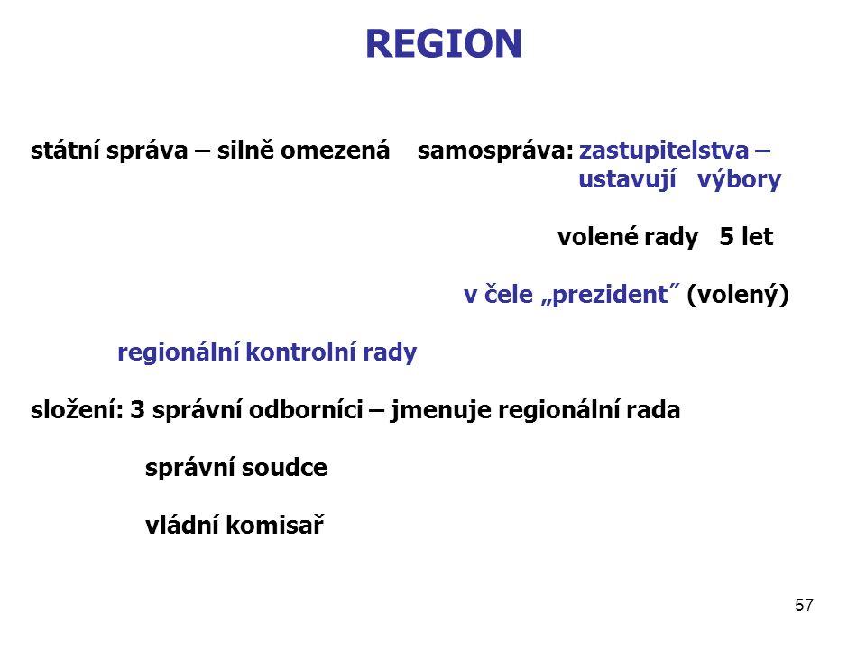 """57 REGION státní správa – silně omezená samospráva: zastupitelstva – ustavují výbory volené rady 5 let v čele """"prezident˝ (volený) regionální kontrolní rady složení: 3 správní odborníci – jmenuje regionální rada správní soudce vládní komisař"""