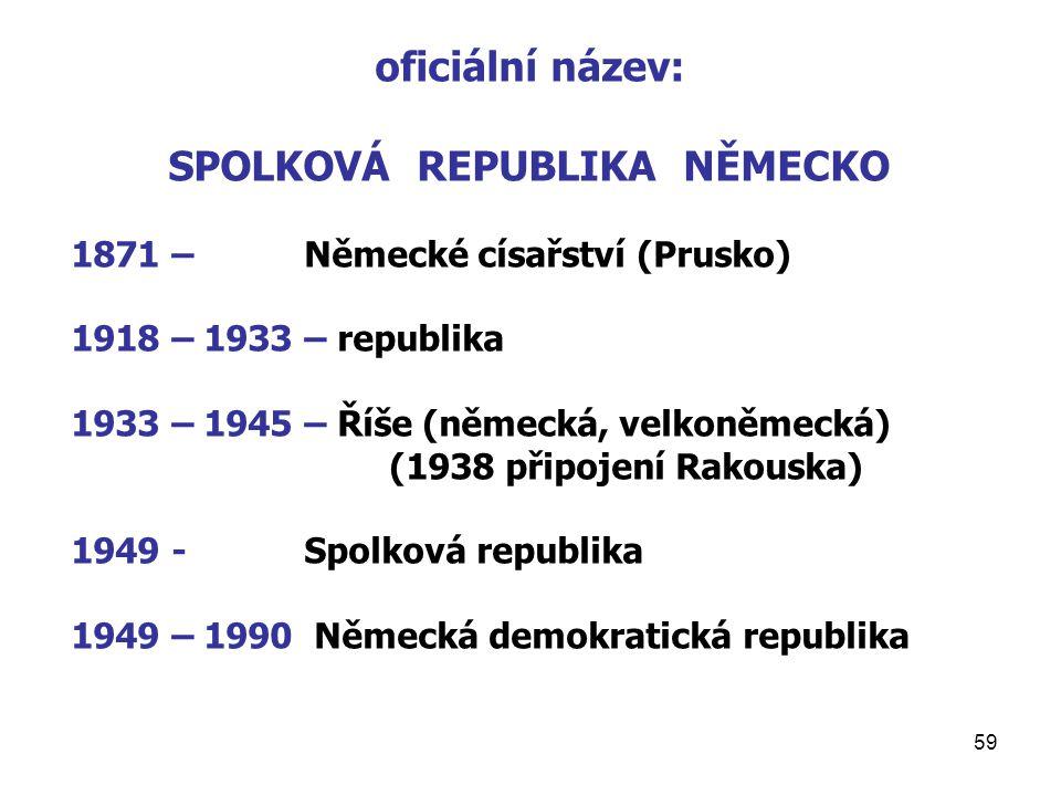 59 oficiální název: SPOLKOVÁ REPUBLIKA NĚMECKO 1871 – Německé císařství (Prusko) 1918 – 1933 – republika 1933 – 1945 – Říše (německá, velkoněmecká) (1938 připojení Rakouska) 1949 - Spolková republika 1949 – 1990 Německá demokratická republika