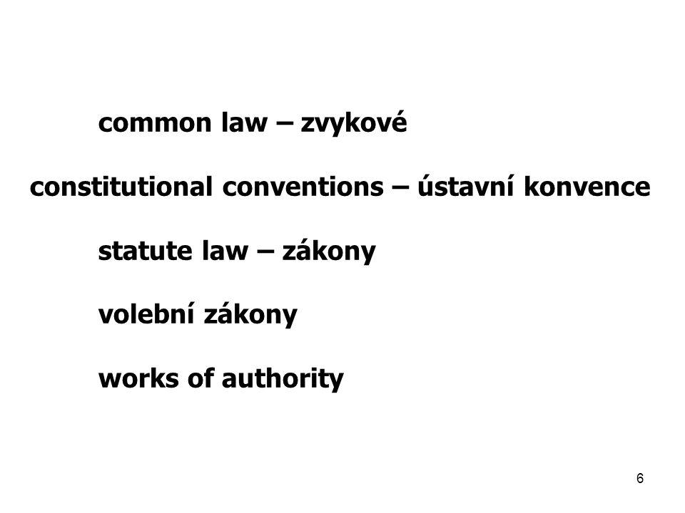 6 common law – zvykové constitutional conventions – ústavní konvence statute law – zákony volební zákony works of authority