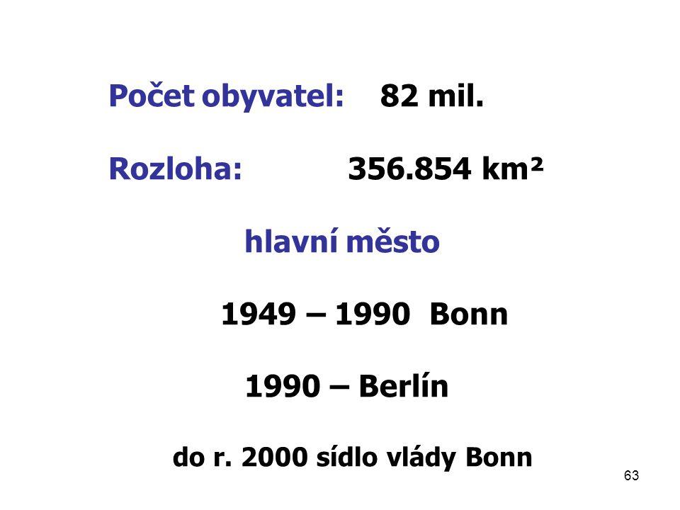 63 Počet obyvatel:82 mil. Rozloha: 356.854 km² hlavní město 1949 – 1990 Bonn 1990 – Berlín do r. 2000 sídlo vlády Bonn