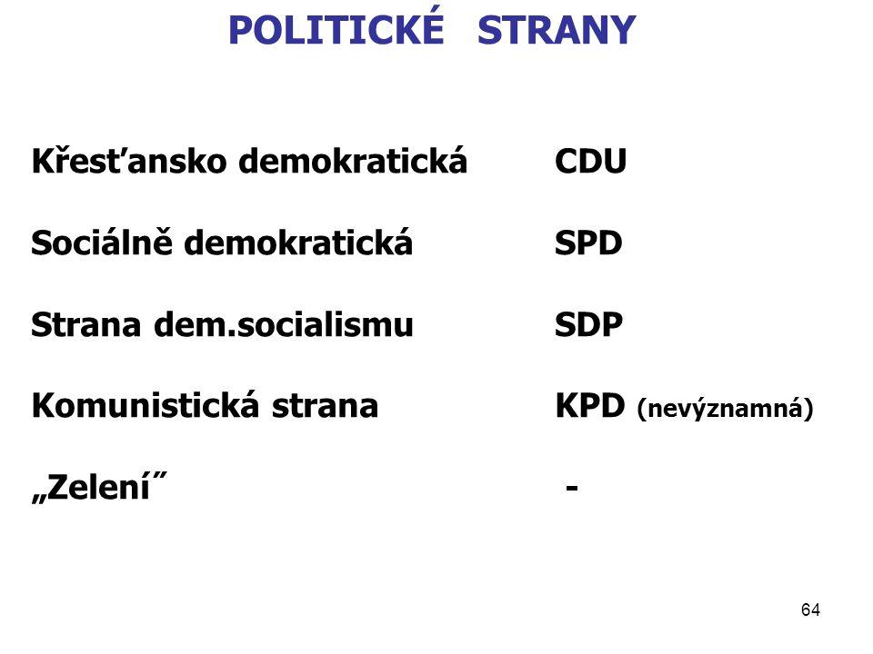 """64 POLITICKÉ STRANY Křesťansko demokratickáCDU Sociálně demokratickáSPD Strana dem.socialismuSDP Komunistická stranaKPD (nevýznamná) """"Zelení˝ -"""