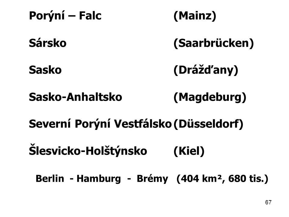 67 Porýní – Falc(Mainz) Sársko(Saarbrücken) Sasko(Drážďany) Sasko-Anhaltsko(Magdeburg) Severní Porýní Vestfálsko(Düsseldorf) Šlesvicko-Holštýnsko(Kiel) Berlin - Hamburg - Brémy (404 km², 680 tis.)