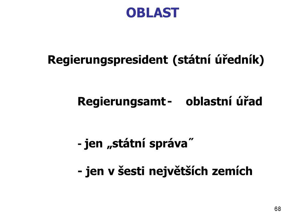 """68 OBLAST Regierungspresident (státní úředník) Regierungsamt- oblastní úřad - jen """"státní správa˝ - jen v šesti největších zemích"""
