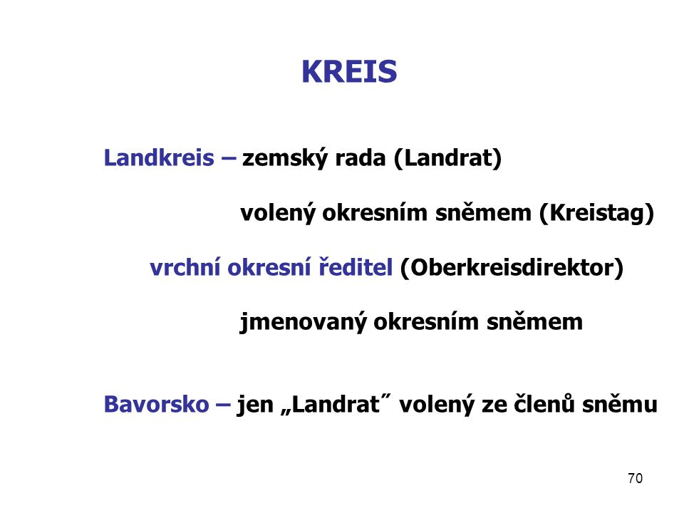 "70 KREIS Landkreis – zemský rada (Landrat) volený okresním sněmem (Kreistag) vrchní okresní ředitel (Oberkreisdirektor) jmenovaný okresním sněmem Bavorsko – jen ""Landrat˝ volený ze členů sněmu"