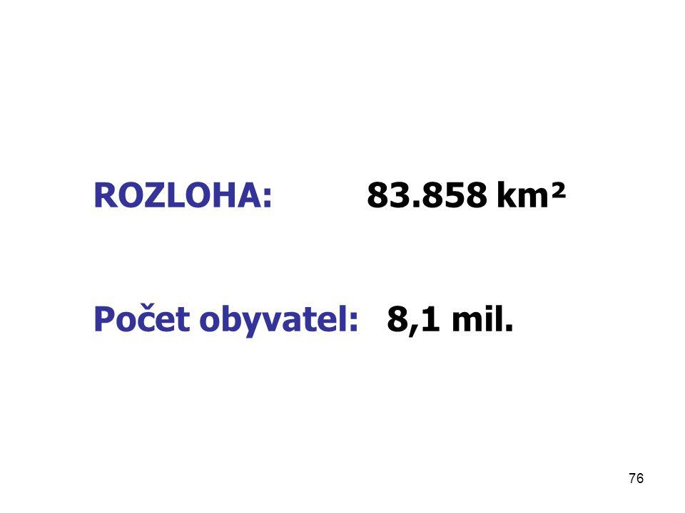 76 ROZLOHA: 83.858 km² Počet obyvatel: 8,1 mil.