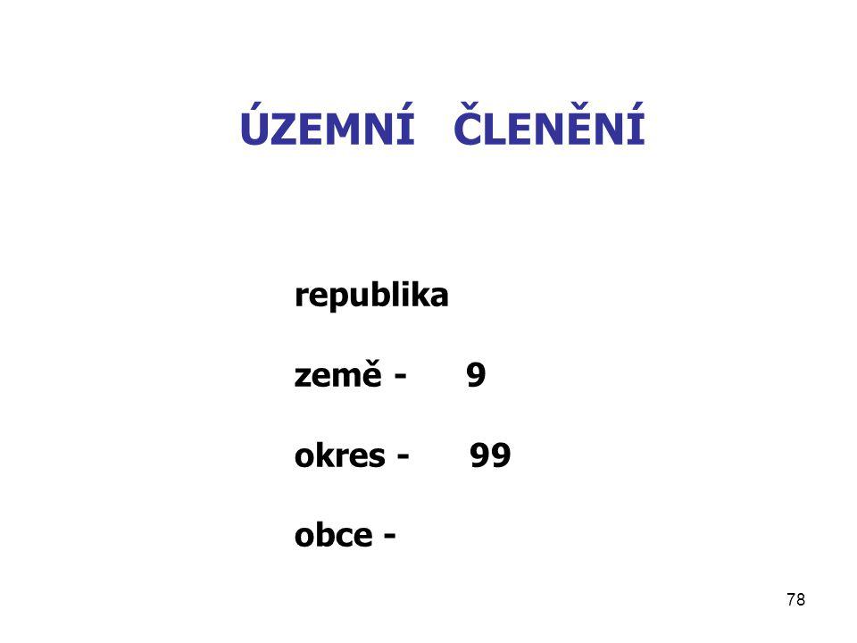 78 ÚZEMNÍ ČLENĚNÍ republika země - 9 okres - 99 obce -