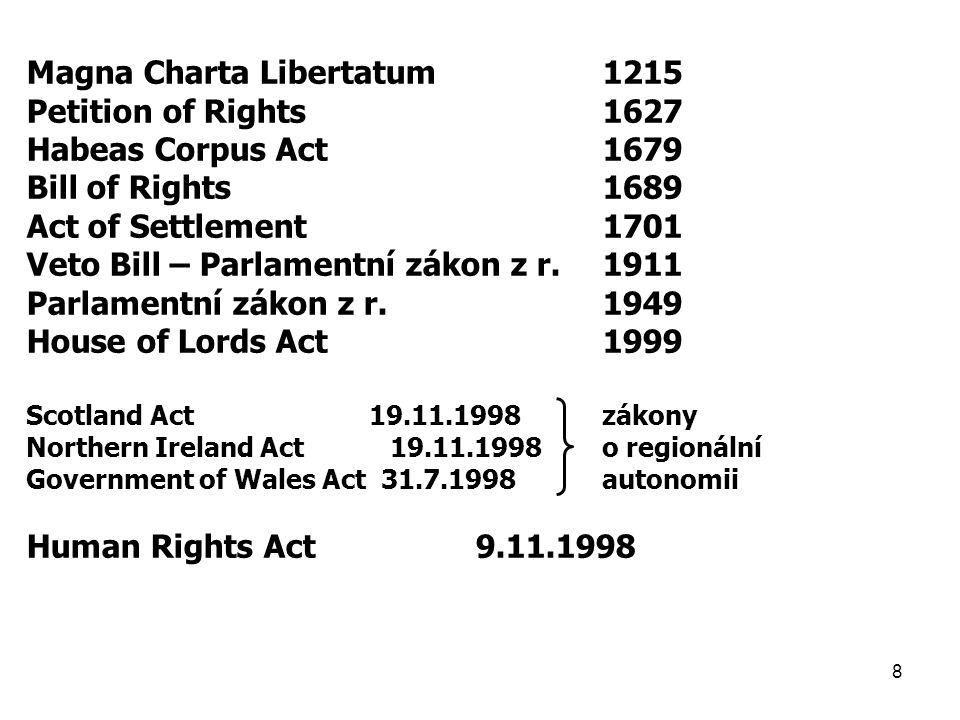 8 Magna Charta Libertatum1215 Petition of Rights1627 Habeas Corpus Act1679 Bill of Rights1689 Act of Settlement1701 Veto Bill – Parlamentní zákon z r.1911 Parlamentní zákon z r.1949 House of Lords Act1999 Scotland Act 19.11.1998zákony Northern Ireland Act 19.11.1998o regionální Government of Wales Act 31.7.1998autonomii Human Rights Act 9.11.1998