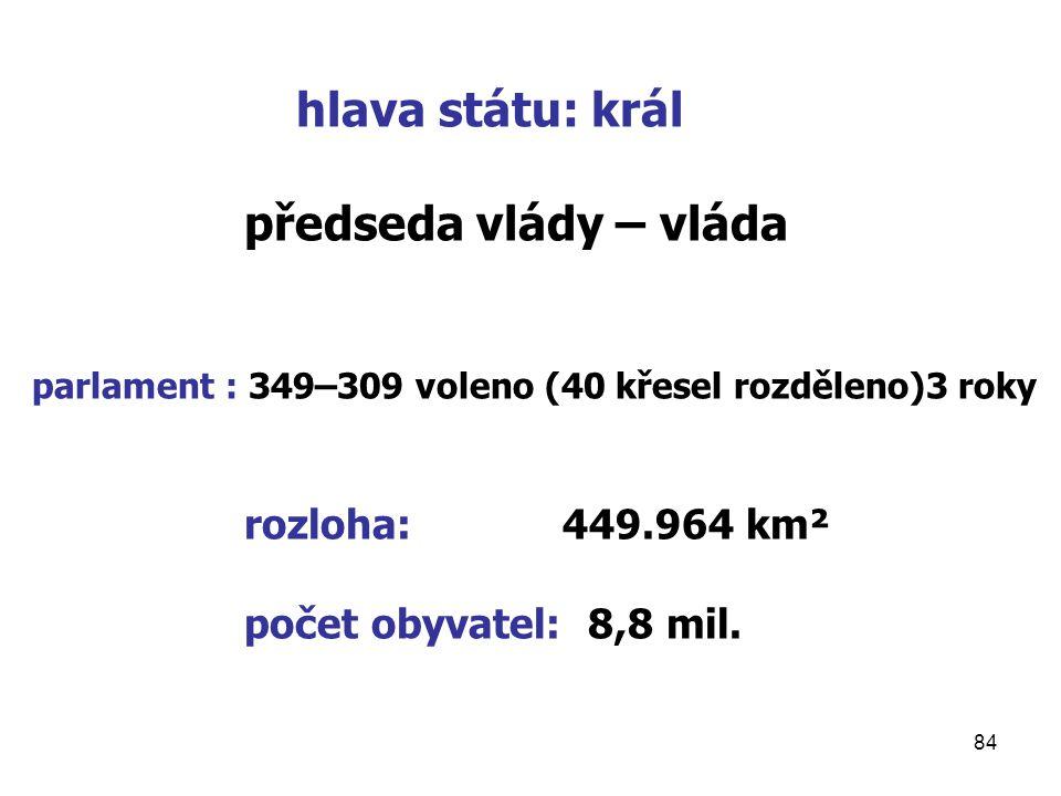 84 hlava státu: král předseda vlády – vláda parlament : 349–309 voleno (40 křesel rozděleno)3 roky rozloha: 449.964 km² počet obyvatel: 8,8 mil.