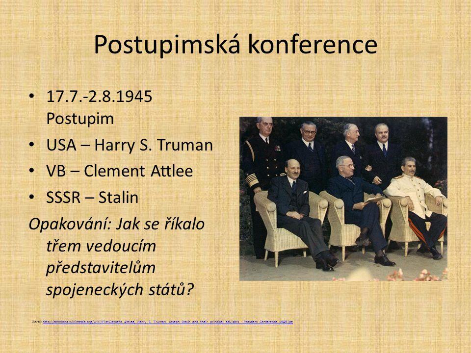 Postupimská konference 17.7.-2.8.1945 Postupim USA – Harry S.