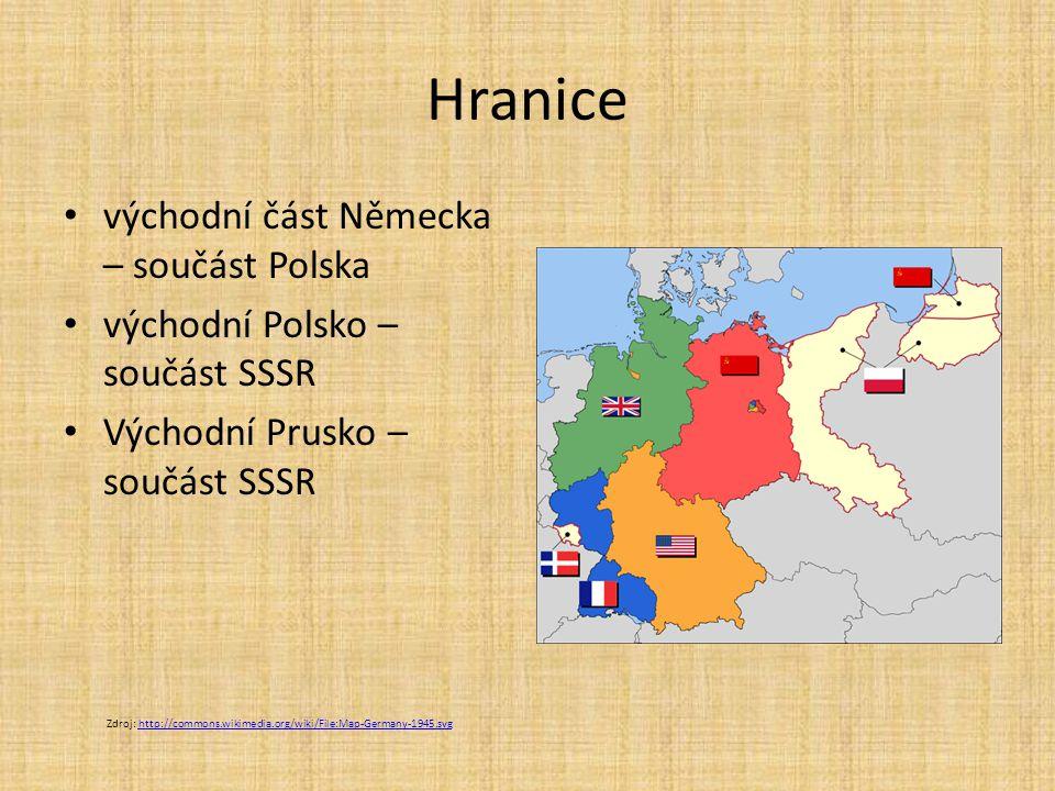 Hranice východní část Německa – součást Polska východní Polsko – součást SSSR Východní Prusko – součást SSSR Zdroj: http://commons.wikimedia.org/wiki/File:Map-Germany-1945.svghttp://commons.wikimedia.org/wiki/File:Map-Germany-1945.svg