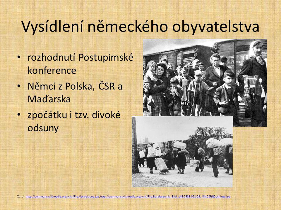Vysídlení německého obyvatelstva rozhodnutí Postupimské konference Němci z Polska, ČSR a Maďarska zpočátku i tzv.