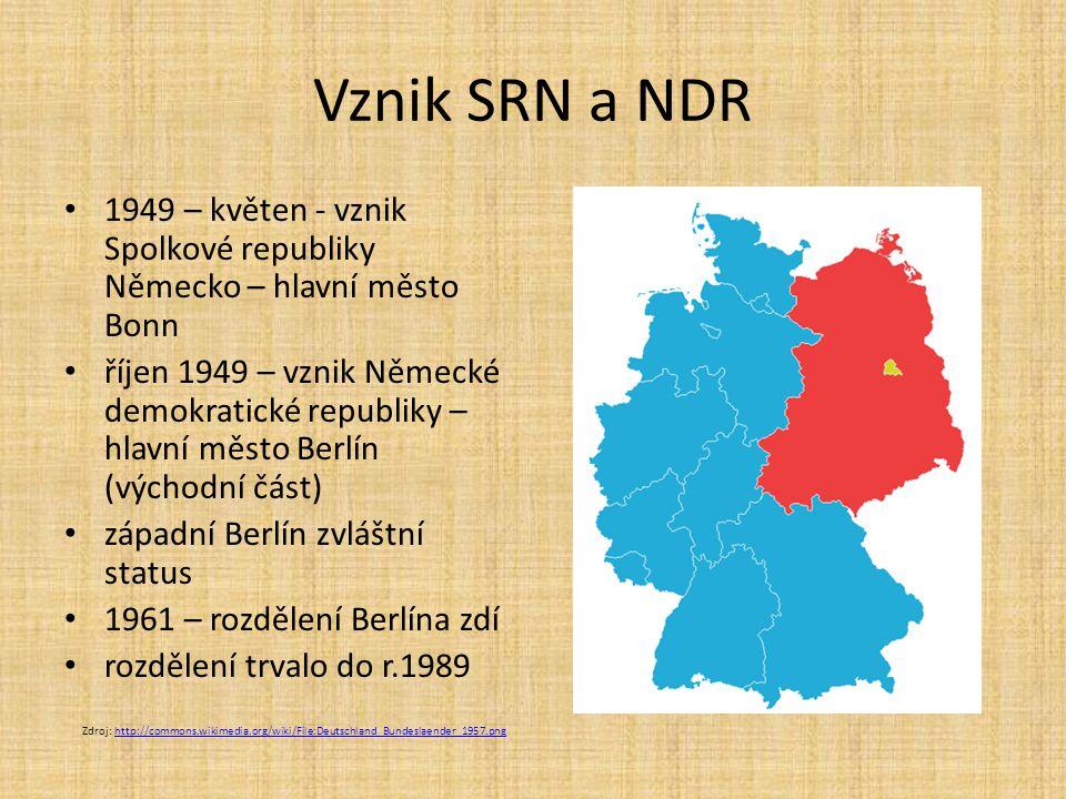 Vznik SRN a NDR 1949 – květen - vznik Spolkové republiky Německo – hlavní město Bonn říjen 1949 – vznik Německé demokratické republiky – hlavní město Berlín (východní část) západní Berlín zvláštní status 1961 – rozdělení Berlína zdí rozdělení trvalo do r.1989 Zdroj: http://commons.wikimedia.org/wiki/File:Deutschland_Bundeslaender_1957.pnghttp://commons.wikimedia.org/wiki/File:Deutschland_Bundeslaender_1957.png
