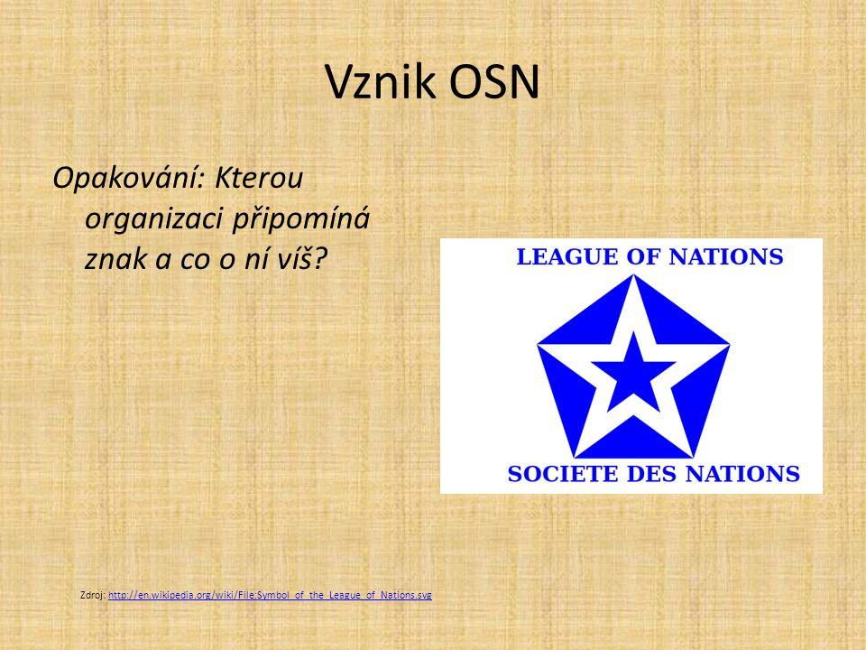 Vznik OSN Opakování: Kterou organizaci připomíná znak a co o ní víš.