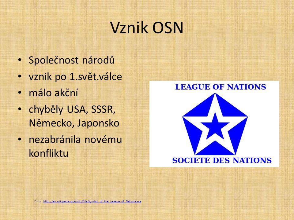 Vznik OSN Společnost národů vznik po 1.svět.válce málo akční chyběly USA, SSSR, Německo, Japonsko nezabránila novému konfliktu Zdroj: http://en.wikipedia.org/wiki/File:Symbol_of_the_League_of_Nations.svghttp://en.wikipedia.org/wiki/File:Symbol_of_the_League_of_Nations.svg