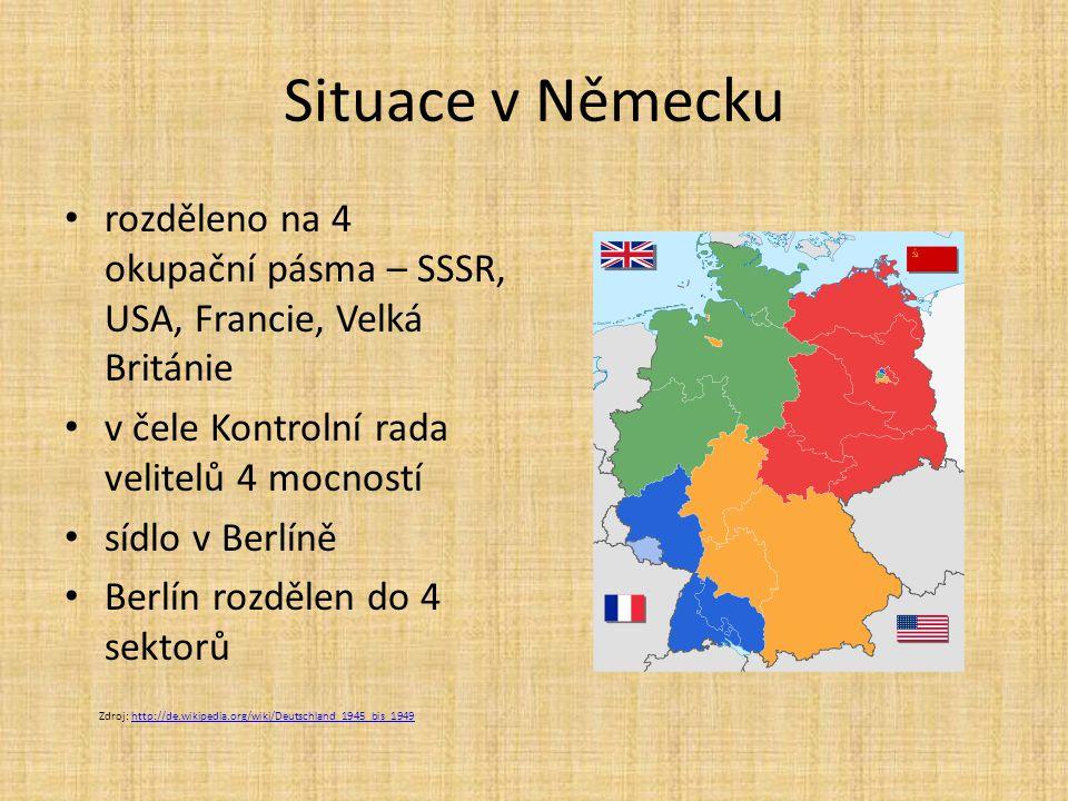 Situace v Německu rozděleno na 4 okupační pásma – SSSR, USA, Francie, Velká Británie v čele Kontrolní rada velitelů 4 mocností sídlo v Berlíně Berlín rozdělen do 4 sektorů Zdroj: http://de.wikipedia.org/wiki/Deutschland_1945_bis_1949http://de.wikipedia.org/wiki/Deutschland_1945_bis_1949