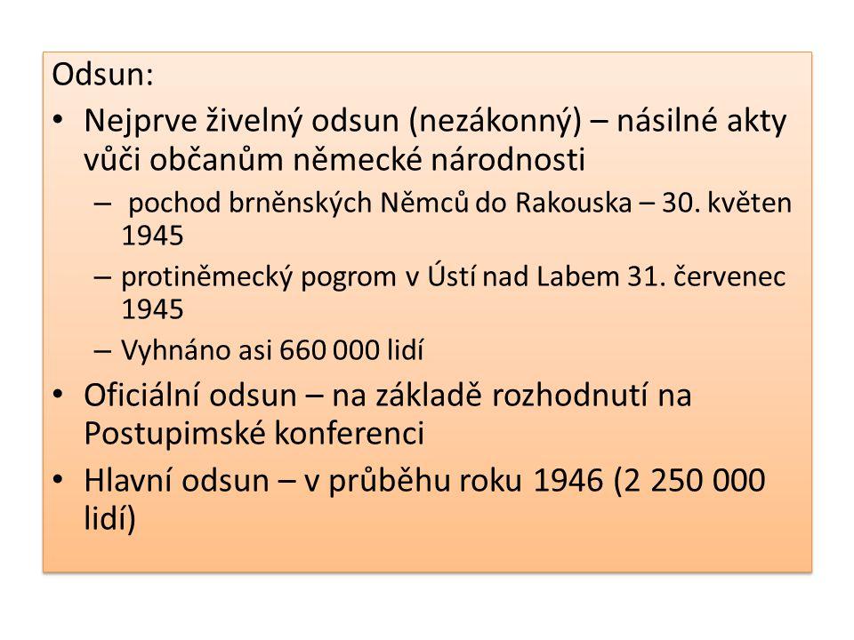 1947-1948 – dodatečný odsun (80 000) na území ČSR zůstalo asi 185 000 příslušníků německé národnosti (později se mnozí z nich odstěhovali sami do SRN) Odsun občanů maďarské národnosti – se již nerealizoval (odpor západu), proto: – reslovakizace – nucené přesídlení Maďarů do českého pohraničí – výměna občanů – (vedlo to k nepřátelskému a napjatému vztahu těchto občanů vůči čs.