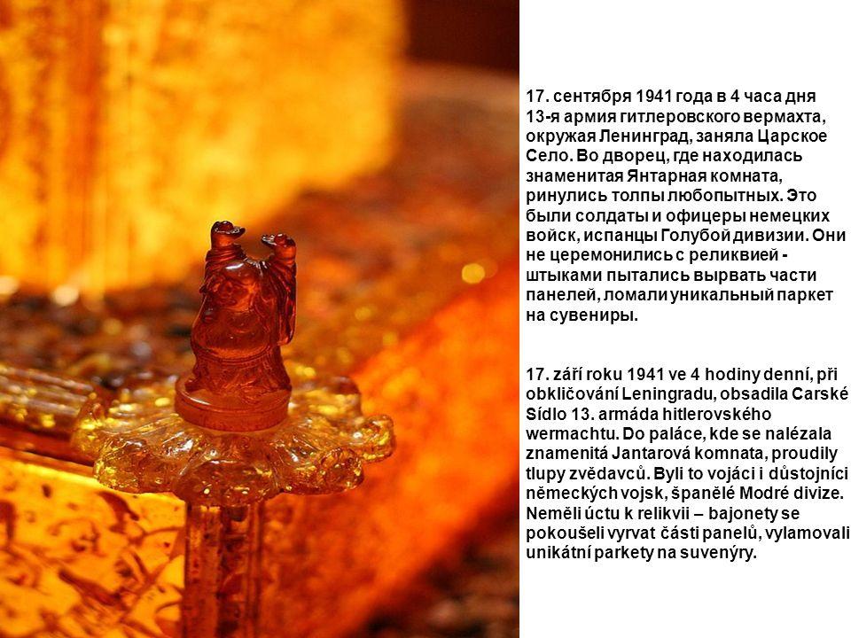 17. сентября 1941 года в 4 часа дня 13-я армия гитлеровского вермахта, окружая Ленинград, заняла Царское Село. Во дворец, где находилась знаменитая Ян