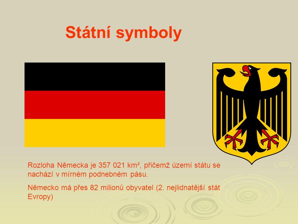 Státní symboly Rozloha Německa je 357 021 km², přičemž území státu se nachází v mírném podnebném pásu. Německo má přes 82 milionů obyvatel (2. nejlidn