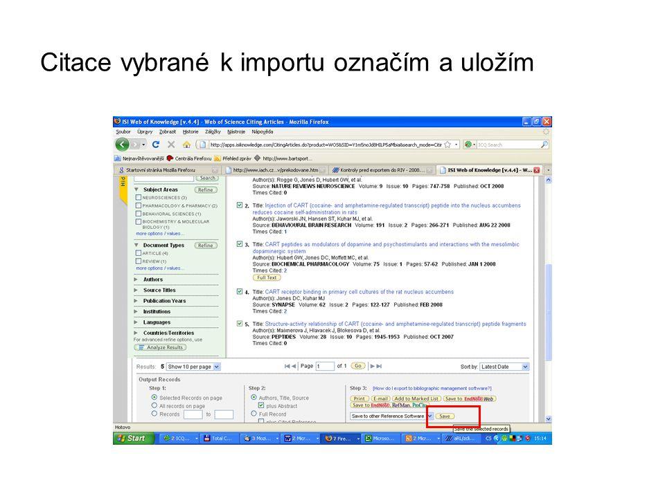 Citace vybrané k importu označím a uložím