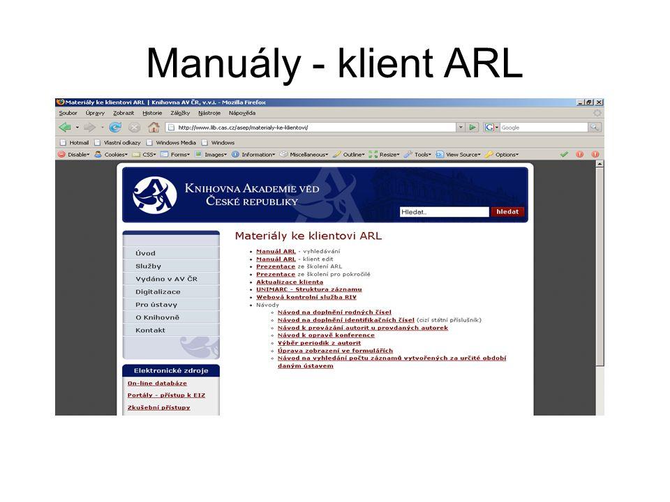 Manuály - klient ARL