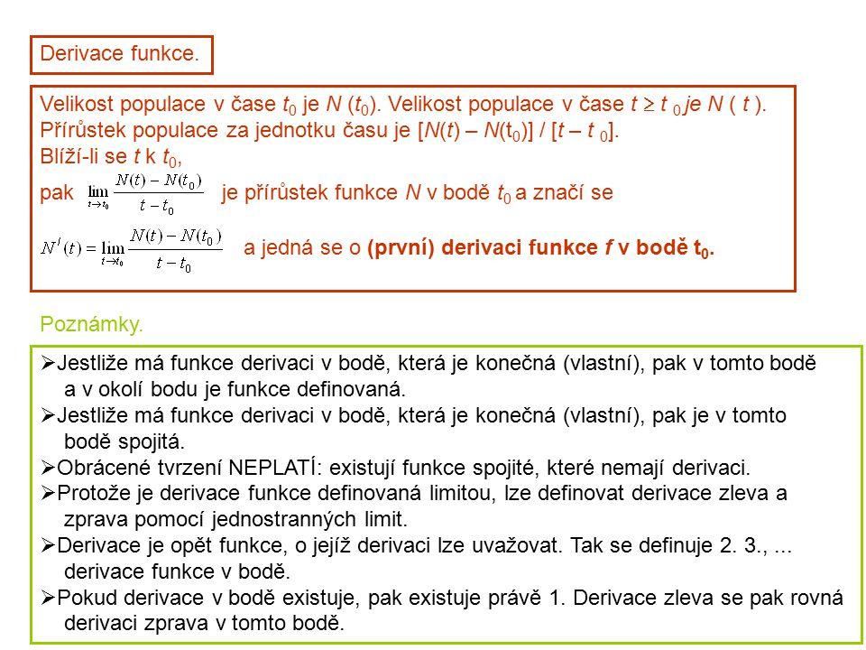 Derivace funkce. Velikost populace v čase t 0 je N (t 0 ). Velikost populace v čase t  t 0 je N ( t ). Přírůstek populace za jednotku času je [N(t) –