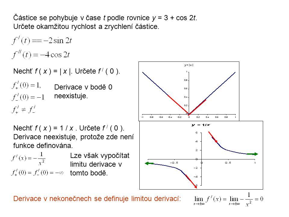Částice se pohybuje v čase t podle rovnice y = 3 + cos 2t. Určete okamžitou rychlost a zrychlení částice. Nechť f ( x ) = | x |. Určete f / ( 0 ). Der