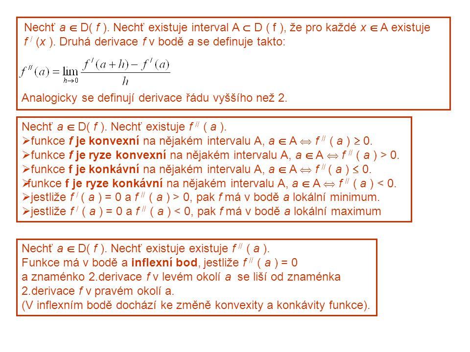 Nechť a  D( f ). Nechť existuje interval A  D ( f ), že pro každé x  A existuje f / (x ).
