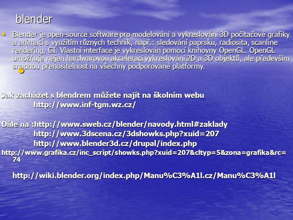 blender Blender je open-source software pro modelování a vykreslování 3D počítačové grafiky a animací s využitím různých technik, např.: sledování pap