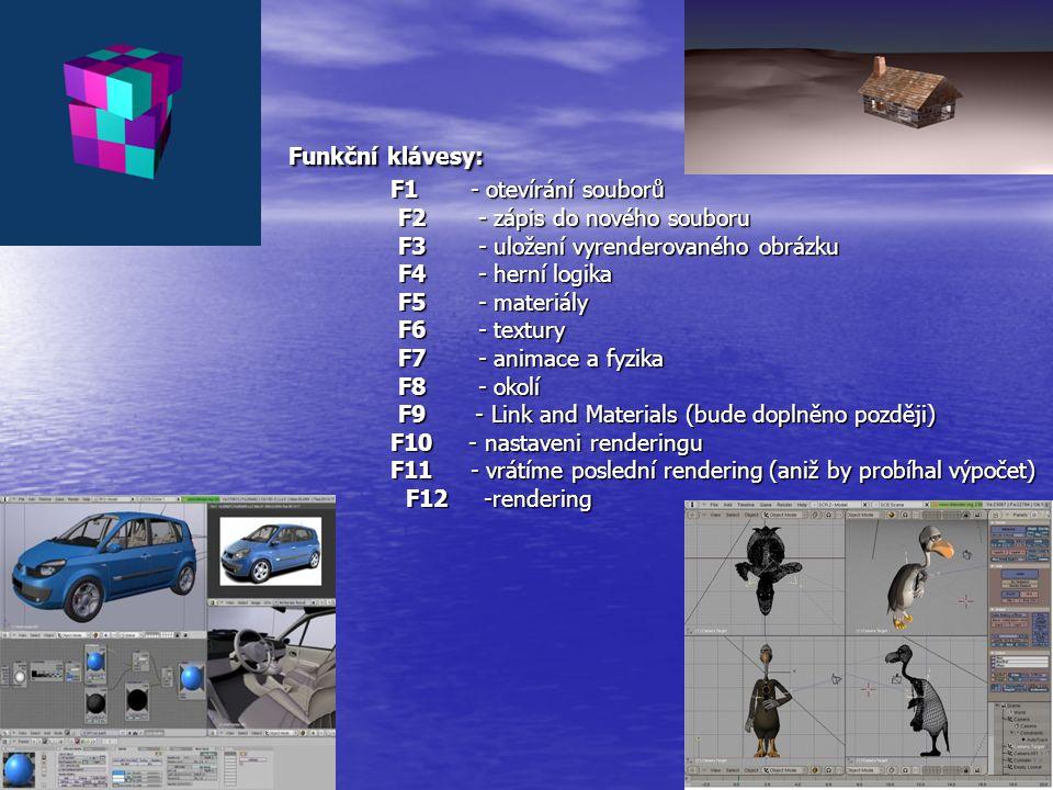 Funkční klávesy: F1 - otevírání souborů F2 - zápis do nového souboru F3 - uložení vyrenderovaného obrázku F4 - herní logika F5 - materiály F6 - textur