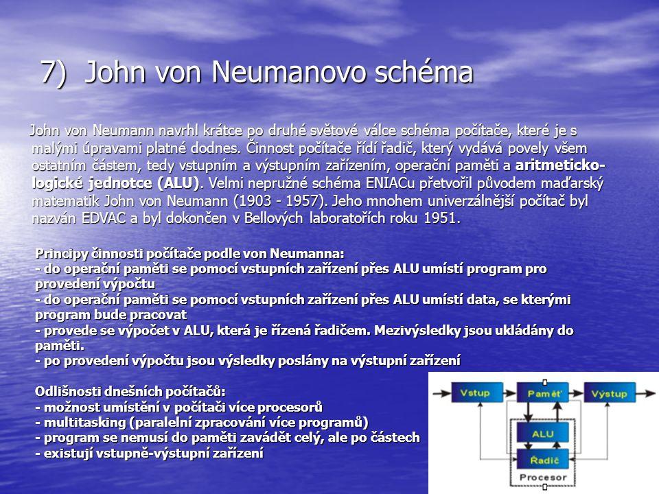 7) John von Neumanovo schéma John von Neumann navrhl krátce po druhé světové válce schéma počítače, které je s malými úpravami platné dodnes. Činnost