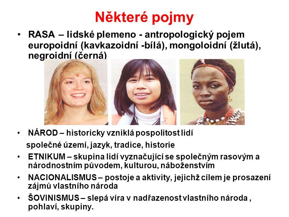 Některé pojmy RASA – lidské plemeno - antropologický pojem europoidní (kavkazoidní -bílá), mongoloidní (žlutá), negroidní (černá) NÁROD – historicky vzniklá pospolitost lidí společné území, jazyk, tradice, historie ETNIKUM – skupina lidí vyznačující se společným rasovým a národnostním původem, kulturou, náboženstvím NACIONALISMUS – postoje a aktivity, jejichž cílem je prosazení zájmů vlastního národa ŠOVINISMUS – slepá víra v nadřazenost vlastního národa, pohlaví, skupiny.