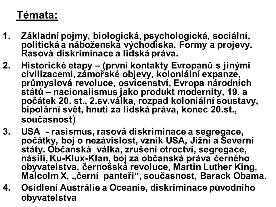 Témata: 1.Základní pojmy, biologická, psychologická, sociální, politická a náboženská východiska. Formy a projevy. Rasová diskriminace a lidská práva.