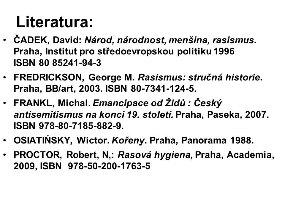 Literatura: ČADEK, David: Národ, národnost, menšina, rasismus. Praha, Institut pro středoevropskou politiku 1996 ISBN 80 85241-94-3 FREDRICKSON, Georg
