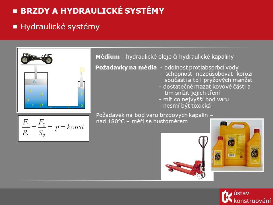 Hydraulické systémy BRZDY A HYDRAULICKÉ SYSTÉMY Médium – hydraulické oleje či hydraulické kapaliny Požadavky na média - odolnost protiabsorbci vody -