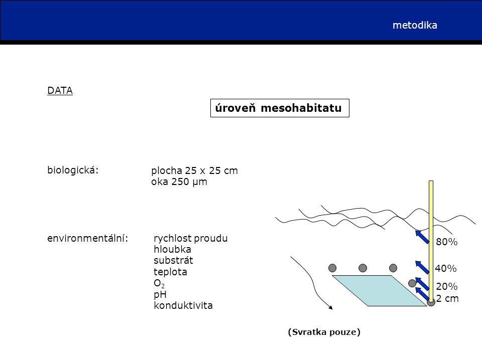 metodika DATA úroveň mesohabitatu plocha 25 x 25 cm oka 250 µm biologická: environmentální:rychlost proudu hloubka substrát teplota O 2 pH konduktivita 2 cm 20% 80%80% 40%40% (Svratka pouze)