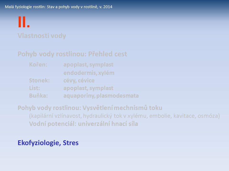II. Vlastnosti vody Pohyb vody rostlinou: Přehled cest Kořen: apoplast, symplast endodermis, xylém Stonek:cévy, cévice List: apoplast, symplast Buňka: