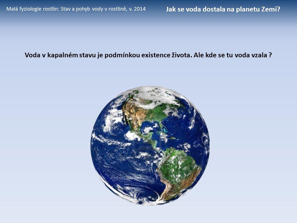Voda v kapalném stavu je podmínkou existence života. Ale kde se tu voda vzala ? Jak se voda dostala na planetu Zemi?