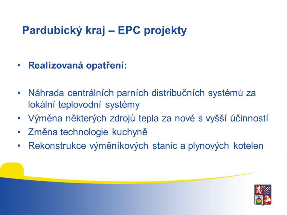 Pardubický kraj – EPC projekty Realizovaná opatření: Náhrada centrálních parních distribučních systémů za lokální teplovodní systémy Výměna některých