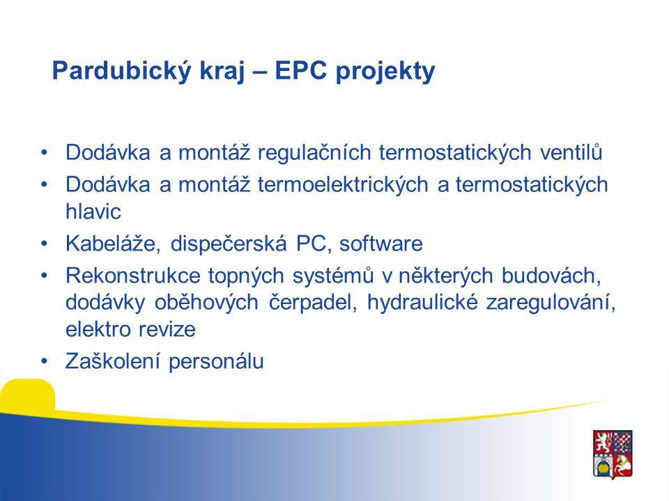 Pardubický kraj – EPC projekty Dodávka a montáž regulačních termostatických ventilů Dodávka a montáž termoelektrických a termostatických hlavic Kabelá