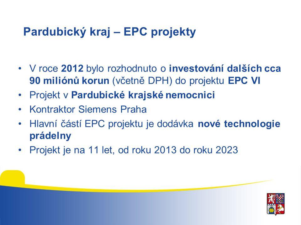 Pardubický kraj – EPC projekty V roce 2012 bylo rozhodnuto o investování dalších cca 90 miliónů korun (včetně DPH) do projektu EPC VI Projekt v Pardub