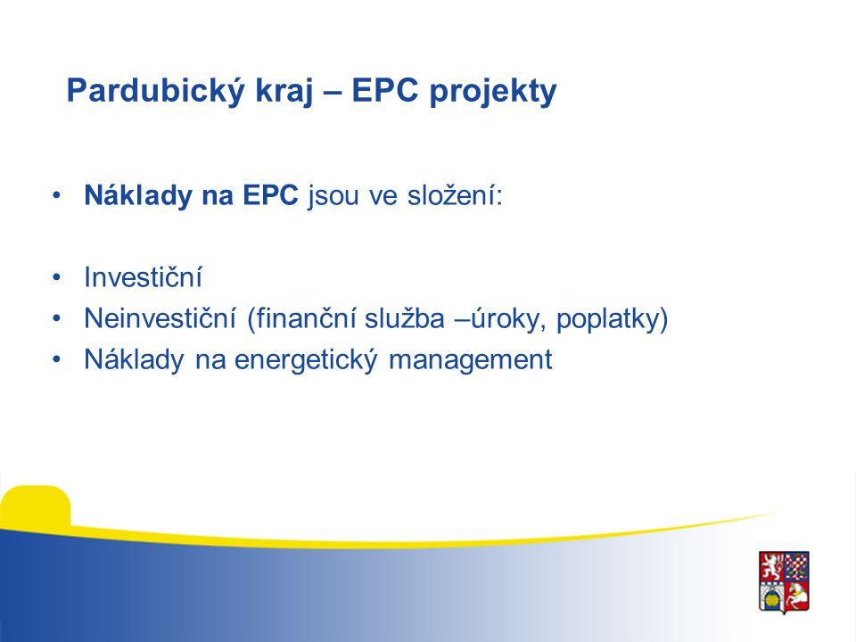 Pardubický kraj – EPC projekty Náklady na EPC jsou ve složení: Investiční Neinvestiční (finanční služba –úroky, poplatky) Náklady na energetický manag