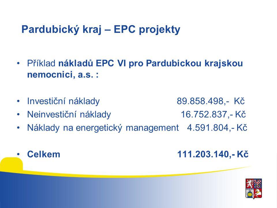 Pardubický kraj – EPC projekty Příklad nákladů EPC VI pro Pardubickou krajskou nemocnici, a.s. : Investiční náklady 89.858.498,- Kč Neinvestiční nákla