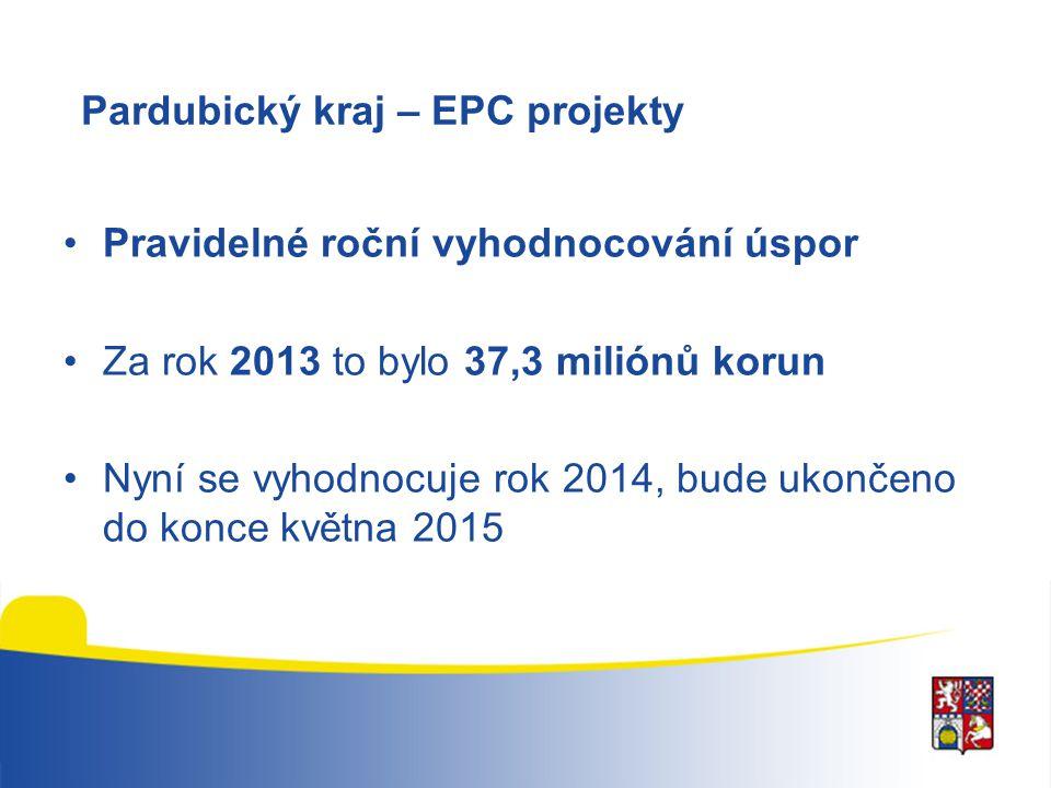 Pardubický kraj – EPC projekty Pravidelné roční vyhodnocování úspor Za rok 2013 to bylo 37,3 miliónů korun Nyní se vyhodnocuje rok 2014, bude ukončeno