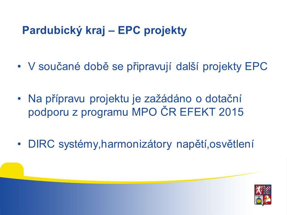 Pardubický kraj – EPC projekty V součané době se připravují další projekty EPC Na přípravu projektu je zažádáno o dotační podporu z programu MPO ČR EF
