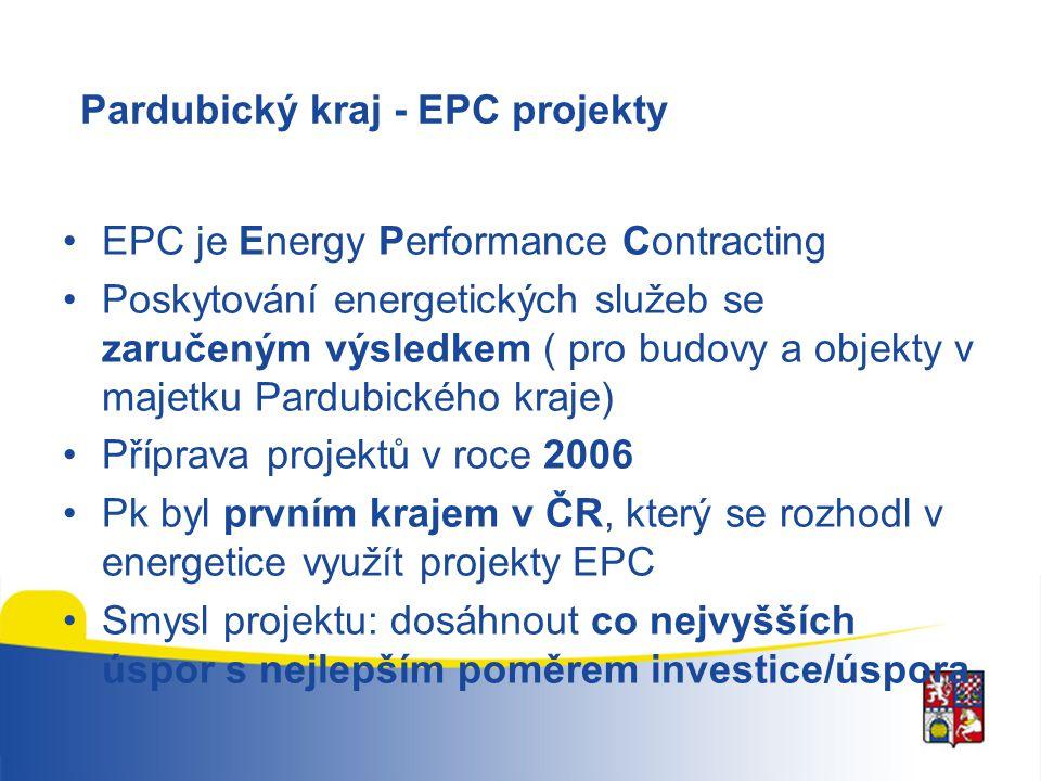 Pardubický kraj - EPC projekty EPC je Energy Performance Contracting Poskytování energetických služeb se zaručeným výsledkem ( pro budovy a objekty v