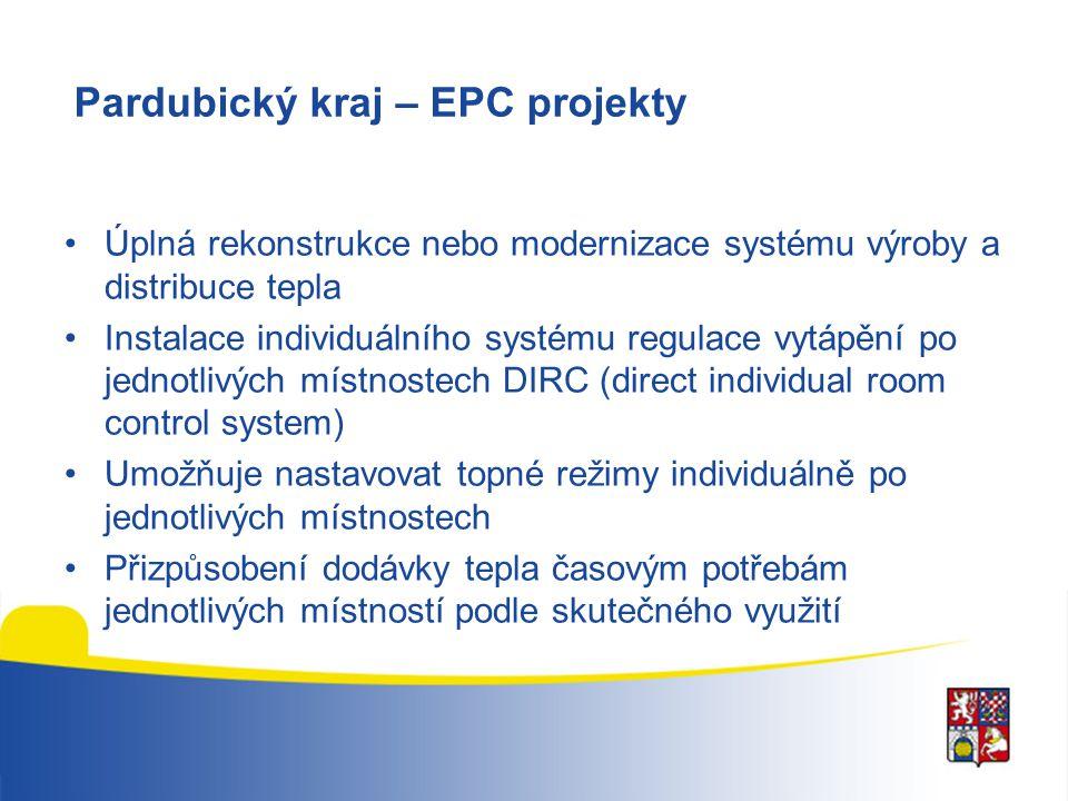 Pardubický kraj – EPC projekty Úplná rekonstrukce nebo modernizace systému výroby a distribuce tepla Instalace individuálního systému regulace vytápěn