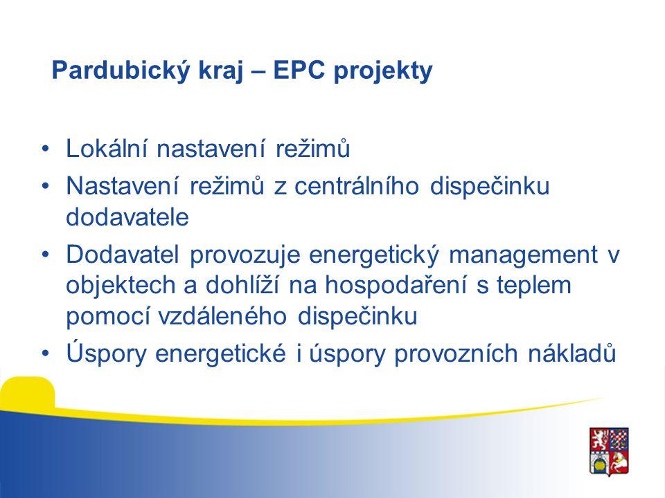 Pardubický kraj – EPC projekty Lokální nastavení režimů Nastavení režimů z centrálního dispečinku dodavatele Dodavatel provozuje energetický managemen